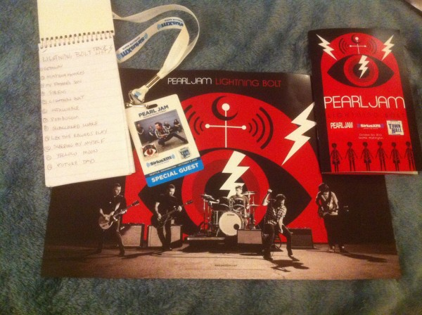 A look at some of the swag and the opening page of my notebook from Pearl Jam's Sirius XM Town Hall.
